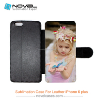 Custom design sublimation flip leather cover for iphone 6 plus, sublimation mobile phone shell