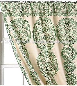 Printed Linen Drapes Curtains