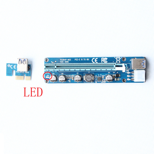 VER008 PCI-e x1 to x16 With 2 LED Indicator light + USB 3.0 Extender Cable 6PIN PCI-E Risers with Sata Power Supply