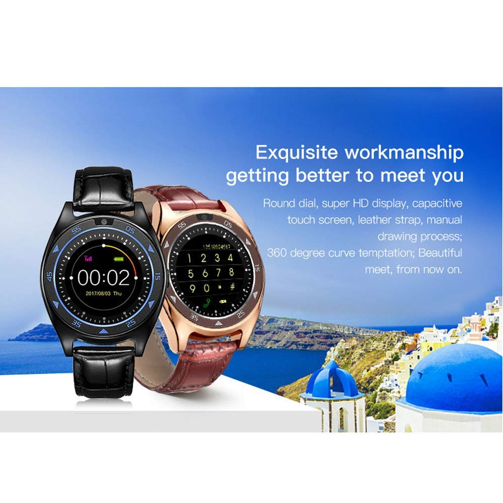 Glumes Bluetooth Smart Watch with heart rate/blood pressure/blood oxygen monitor Touchscreen Smart Wrist Watch + Sim Card Slot Unlocked Waterproof Smart Watch -American Warehouse Shipment (➤ Black)