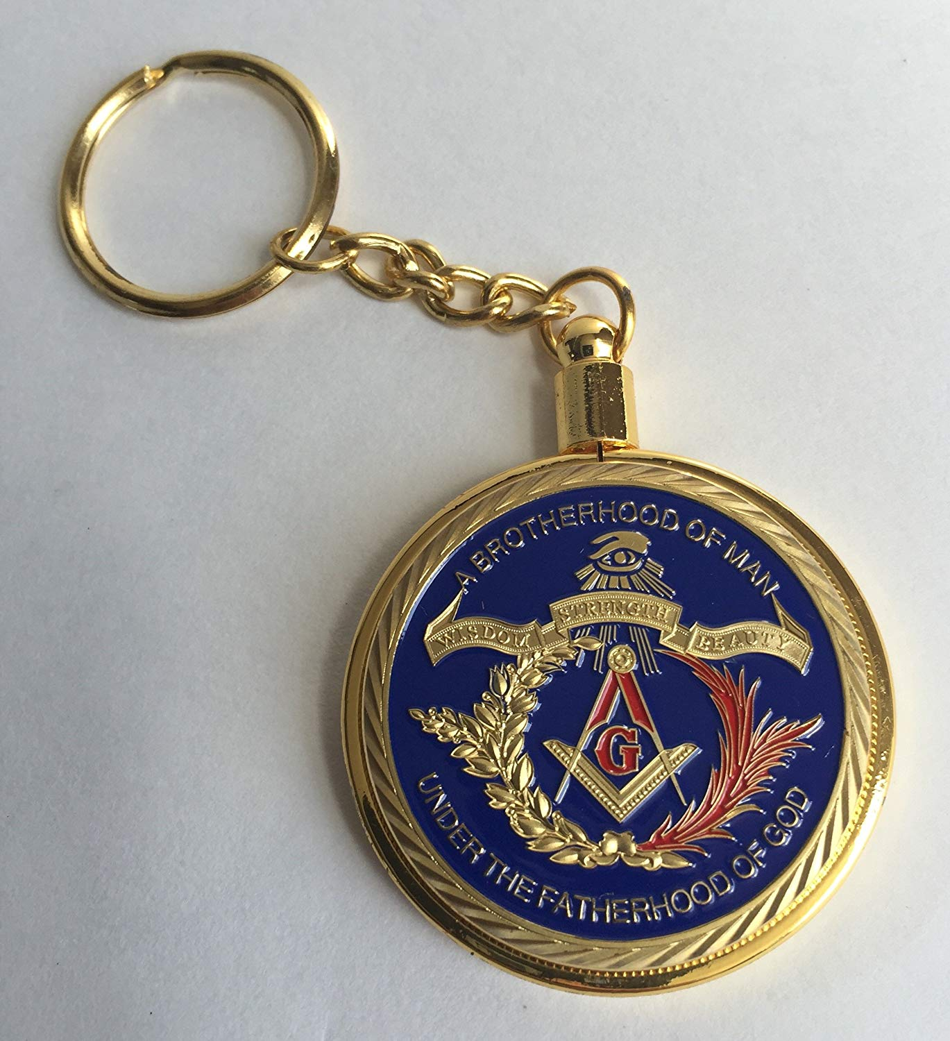 gold color color Freemason Challenge Coin in keychain by Lucky Donk