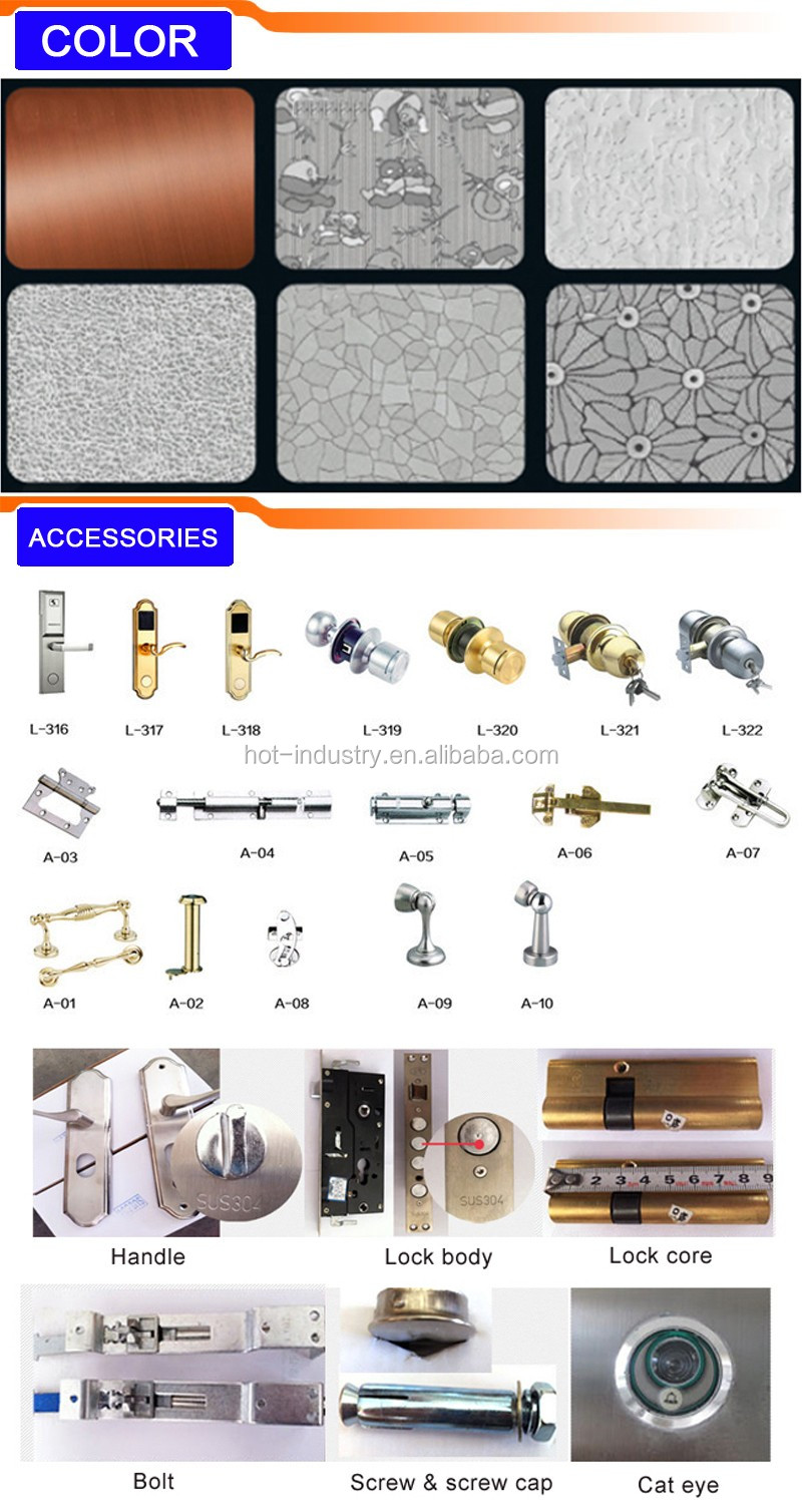 High quality china factory stainless steel grill door for Office main door design