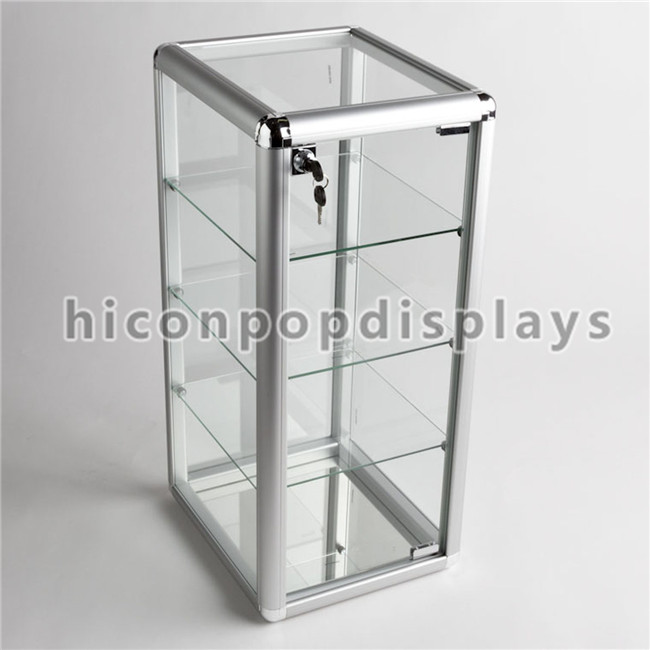 Simple Table Top Lockable Small Accessories Merchandising 4 Tier Gl Display Units For