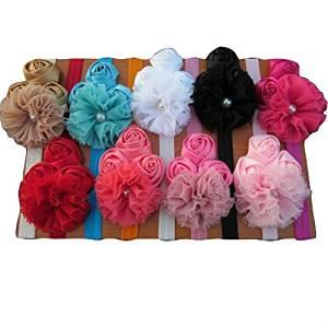 XIMA Rose Flower with Baby Headbands Chiffon Flower Girls Headbands set of 9