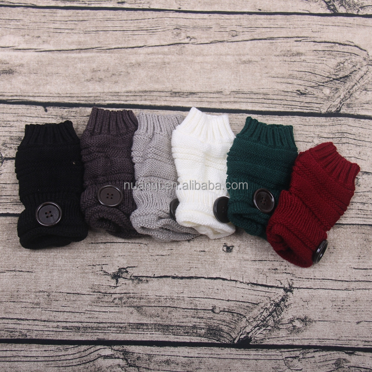 Fingerless Thumbhole Knitted Ladies Hand Warmer Glove Mittens with Buttons