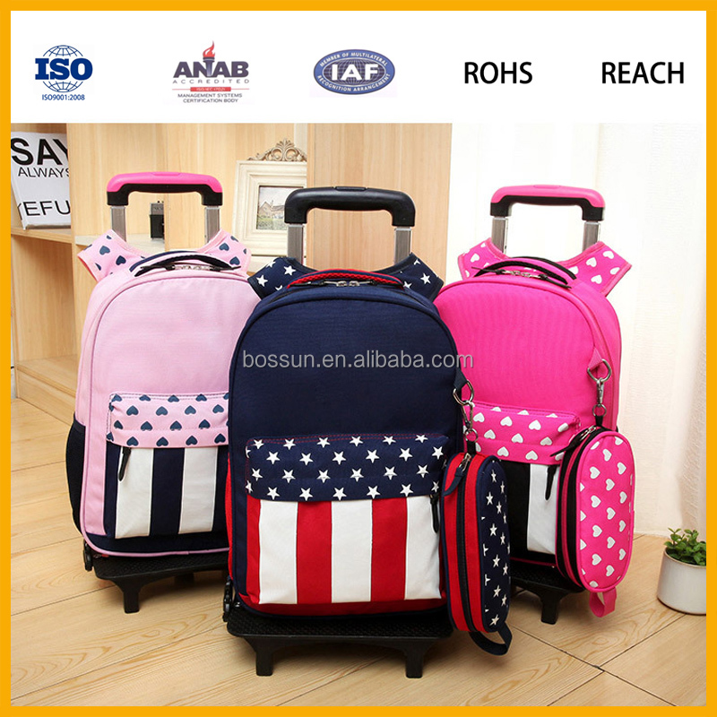 Wholesale new arrival high quality trolley school backpack rolling backpack with wheels