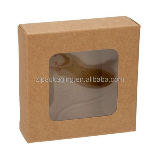 natural kraft paper soap folding packaging gift box with clear window