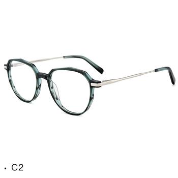 5801b989e5 Latest design irregular polygon acetate combine metal eyeglasses frame  china eyewear manufacturer