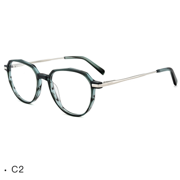 f0a1b5dd4430 Latest design irregular polygon acetate combine metal eyeglasses frame  china eyewear manufacturer