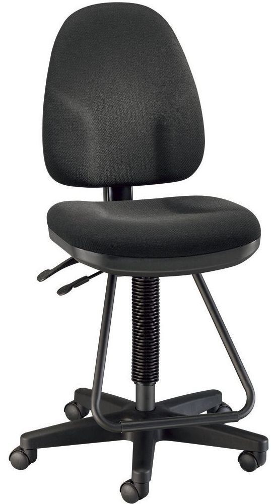 """Alvin DC555-40 Black Executive Drafting Height Monarch Chair, Seat cushion is 19""""w x 18""""d x 3"""" thick with waterfall front, Backrest is 16""""w x 19""""h x 3"""" thick, Height adjusts from 24"""" to 34"""""""