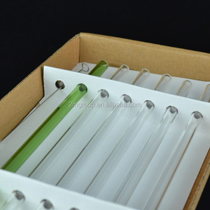6pcs colorful bent/straight glass drinking straws pack in box