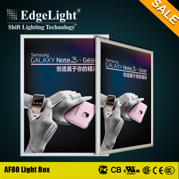 Edgelight hot sale aluminum frame acrylic led light jewelry box for advertisment in shopping mall