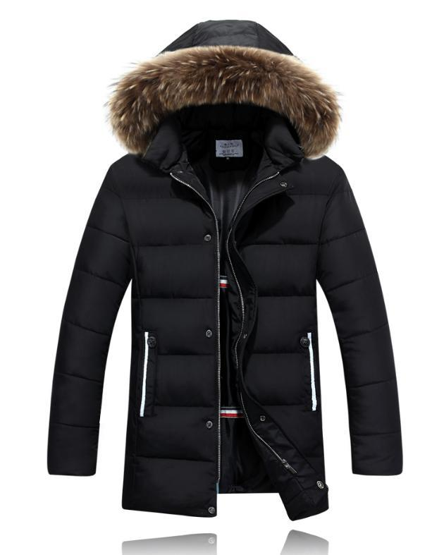 2015 Fashion winter jackets men,Warm thicken cotton-padded jackets fur collar hooded parkas coat casual outerwear down jackets
