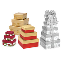 Extra large different sized paper cardboard nested gift boxes set with lids
