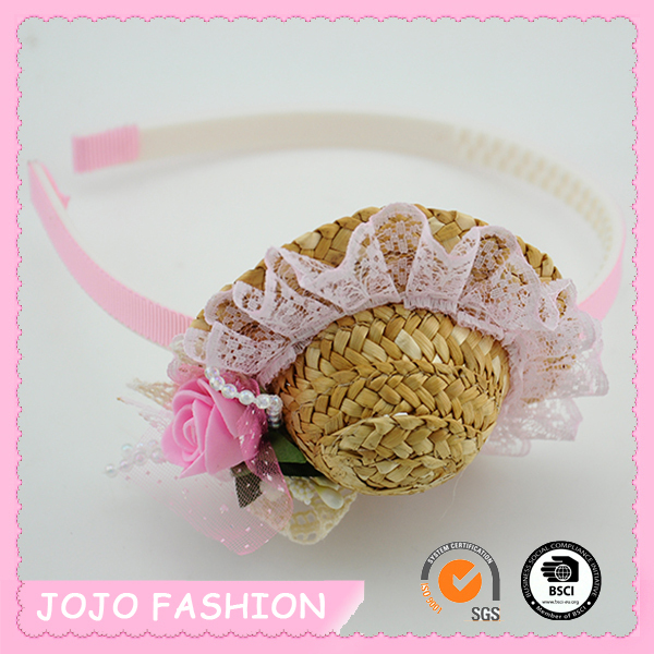 Lovely Girls Straw Woven Mini Top Hat Plastic Spiral Headband Hair Band
