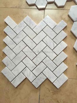 Neue 1x2 Zoll Weissem Carrara Marmor Fischgraten Mosaik Fliesen Buy