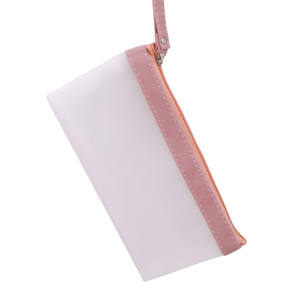 Rurah Transparent PVC Pencil Case Portable Zipper Closure Frosted Stationery Case School Office Supplies,Pink