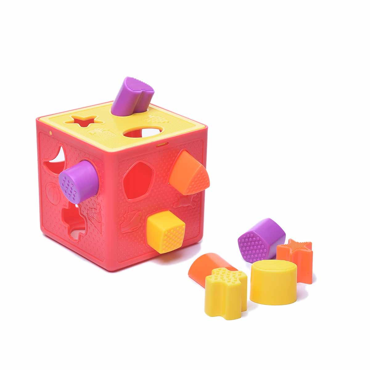 Baby Learning Cognitive Building Blocks Toys - Form Fitter, Shape Sorter Childrens Blocks - Color Recognition Shape Toys Colorful Sorter Cube Box - Toys Gift Boys & Girls
