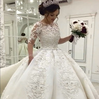 Luxury Full Pearls 2017 Muslim Long Sleeves Ball Gown Wedding Dress MW971