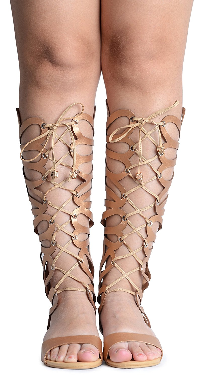 a30a758b Get Quotations · Odema Womens Knee High Gladiator Thong Sandals Summer  Roman Strappy Flat Zip Sandal Boot