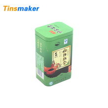 Green color standard sizes tea packaging tin box with lid