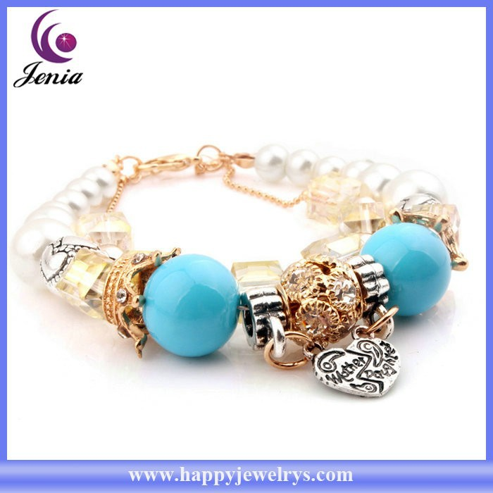Cute Bracelet Design For Young Girls 18k Gold Plated Blue Beads ...