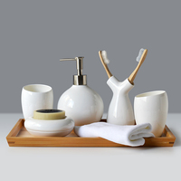 Hot Sale Hotel Home Novelty Simply Bamboo Bathroom Accessories Set Ceramic Bathroom Set