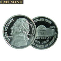 Best selling hot Chinese products custom 1 Gram 999 Fine Silver 1950 Round coin Monticello 5 cent Round