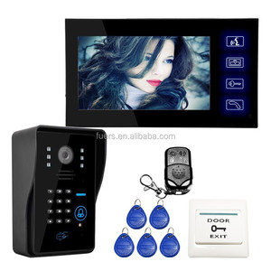 "7"" TFT Video Intercom Remote Unlock Night Vision Rainproof Security CCTV Doorbell Camera Video Door Phone Touch Screen"