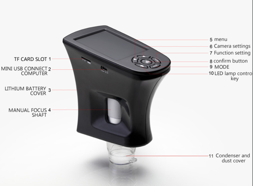Portable 500X 5.0MP Digital Microscope 2.7 Inch LCD Electronic HD Video Microscope Magnifier Camera