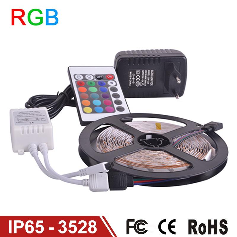 Waterproof LED RGB strip light SMD3528 IP65 Fiexble Light 60LED M 5M DC 12V Adapter Power