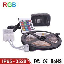Waterproof LED RGB strip light SMD3528 IP65 Fiexble Light 60LED/M 5M DC 12V Adapter Power 2A Free shipping RGB strip lamp bulb