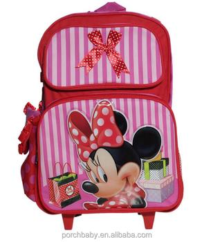 06a715797b8 Roze Minnie Mouse Roller Rugzak Tas, leuke Cartoon Trolley Schooltas Meisje