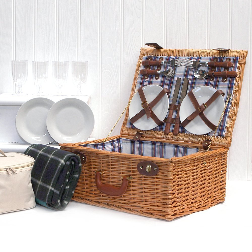 Fine Food Store The Henley 4 Person Picnic Basket with Green Waterproof Picnic Blanket & Cream Chiller Bag