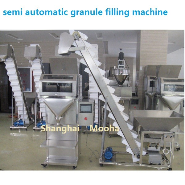 semi automatic rice/nuts/grain/seed/beans/granule weigh filler filling packaging machine