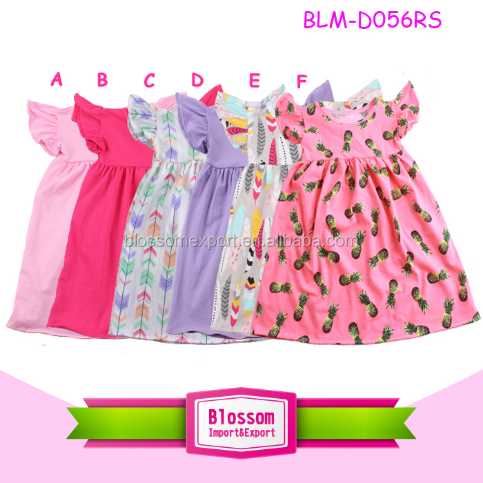 Wholesale casual long sleeve kids girls dress children simple long frocks designs baby cotton dress