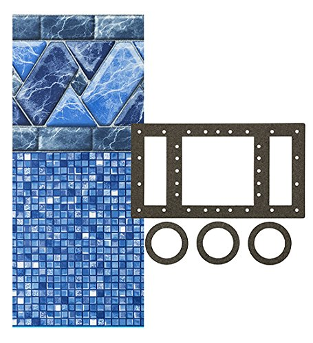 SmartLine Stone Harbor 12-Foot-by-24-Foot Oval Liner | UniBead Style | 48-Inch Wall Height | 25 Gauge Virgin Vinyl | Designed for Steel Sided Above-Ground Swimming Pool | Universal Gasket Kit Included