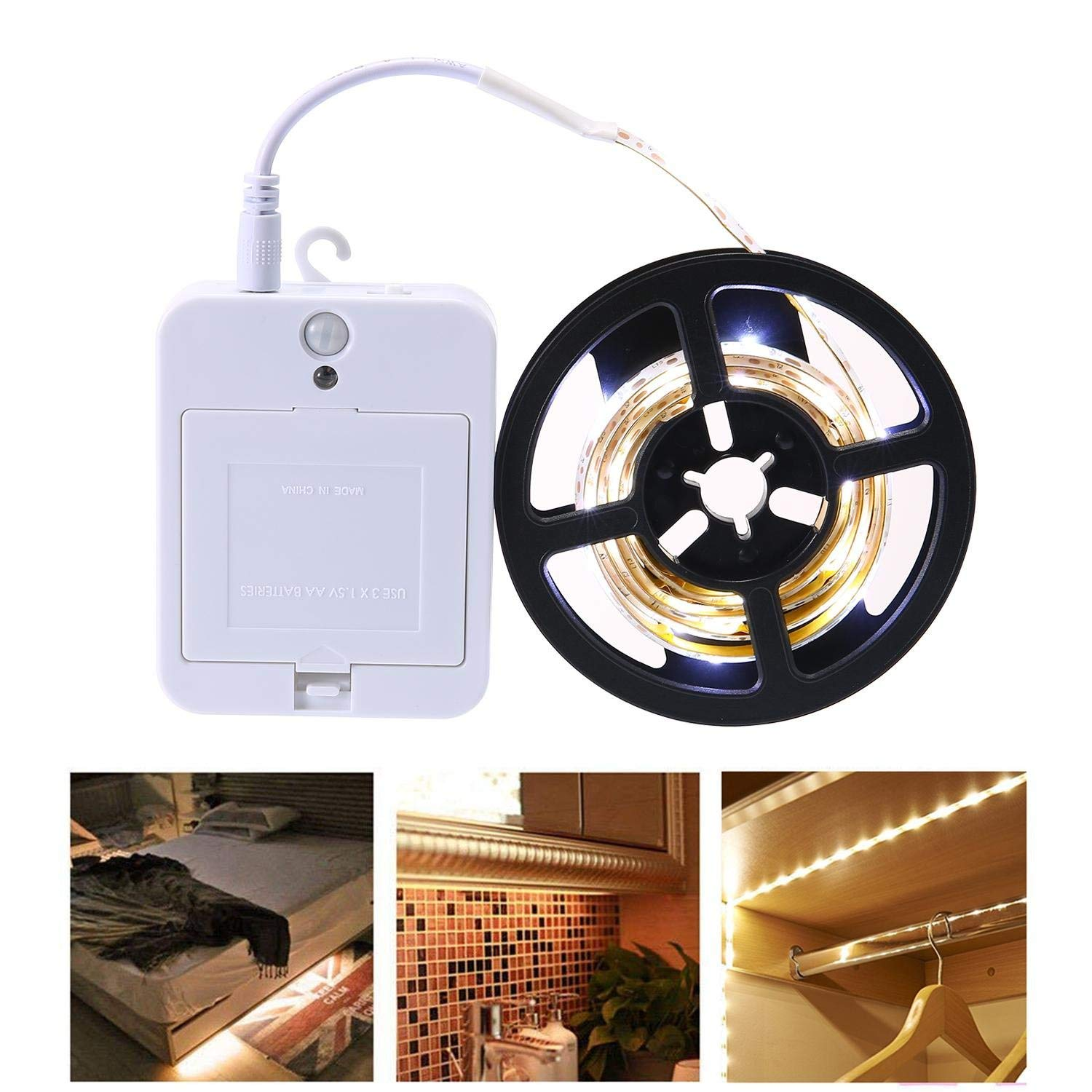 Teepao Led Strip Lights Battery Powered 1M/3.3FT Motion Sensor Closet Light 30 LED Under Bed Light 3M Adhesive TV Cupboards Wardrobe Cabinet Pantry Hallway, 3 Working Modes(Cool White)