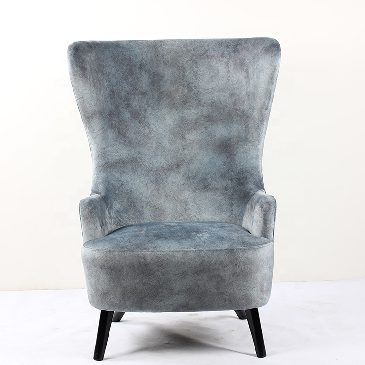 Single Comfortable Pouf High Back Modern Fabric Leisure Armchair Room Grey Accent Furniture Wing Chair