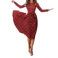 New Vintage Women Plaid Dress Long Sleeve Waist Strap Check Tartan Cocktail Party Swing Dress Red