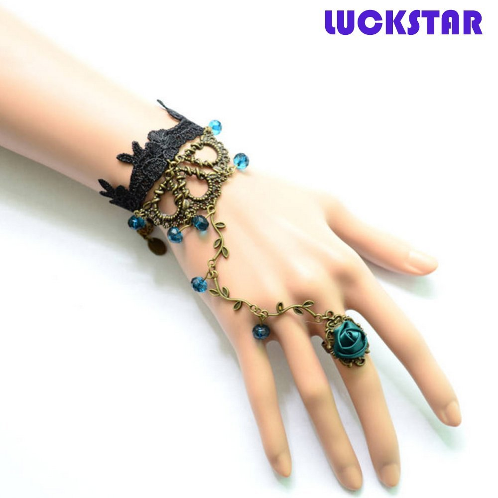 LUCKSTAR(TM) 2PCs Women Fashion Gothic Retro Style Bracelet Wrist Band with Rose Ring and Black Lace for Christmas Gift Halloween Masquerade Party Prop