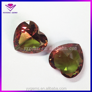 best selling heart shape color changed crystals faceted cut bling mozambique gems stone jaipur jewel