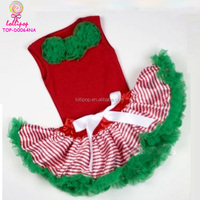 Wholesale Xmas Red Stripe Green tulle Pettiskirt chiffon green flower rose collar sleeveless tops children Christmas outfits