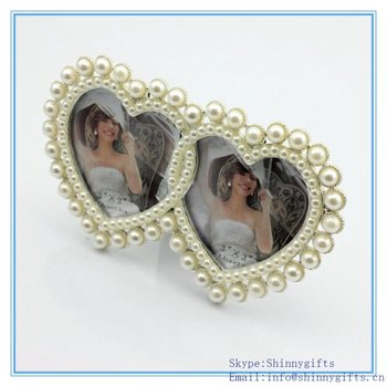 Shinny Gifts Perfect Wedding Favor 3x3 Metal With Pearl Double Heart ...