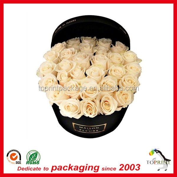 Custom design printed large cardboard paper round flower box gift packaging box