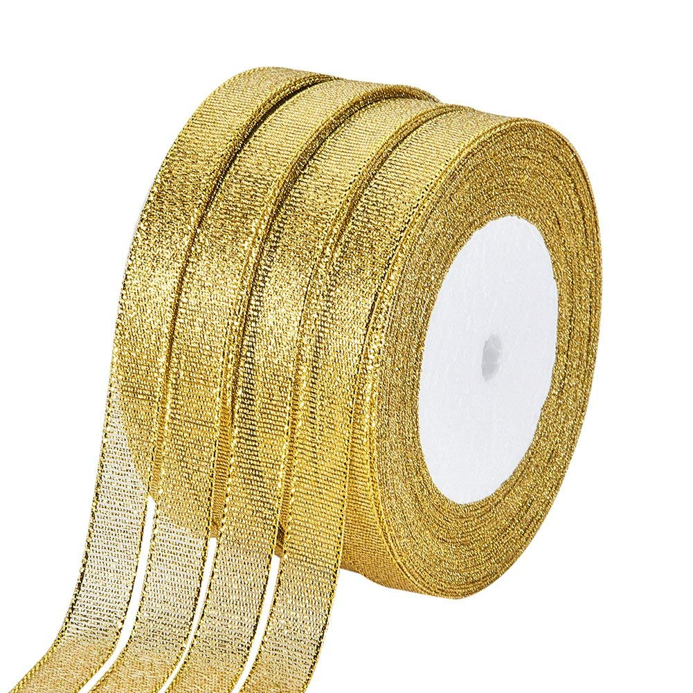 BENECREAT 250Yards (10 rolls X 25yd) 1/2-inch Wide Premium Glitter Metallic Sparkle Fabric Ribbon for Wedding, Holiday, Home Decoration, Gift Wrap (Gold)