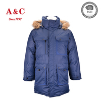 Fashionable Man Winter Puffy Parka Coat With Faux Fur Hood