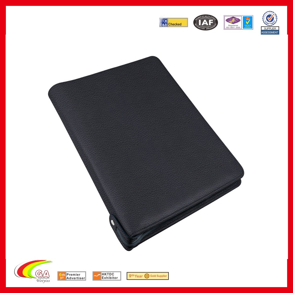 A4 PU Leather Zippered Portfolio With Ring Binders