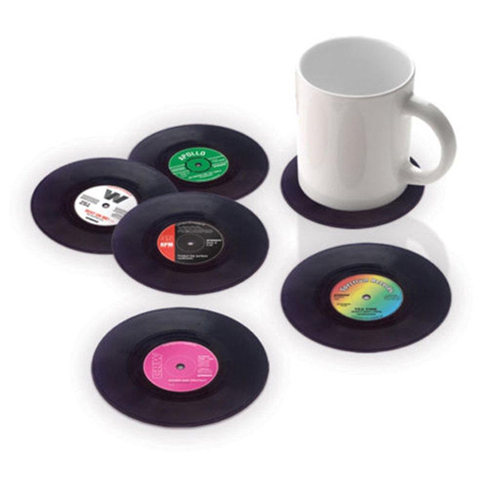 LOBZON Vintage Vinyl Record Beverage Coasters Set (6 Drink Coasters for One Set) (One Set)