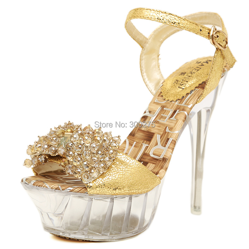 Big:35-43 fashion summer shoes woman Transparent platform Crystal Thin high heel Buckle sandals Diamond Gold bow wedding pumps